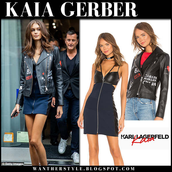 Kaia Gerber in black leather jacket and navy mini dress karl x kaia nyfw model style september 12