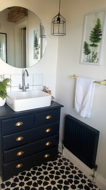 industrial glam budget bathroom makeover monochrome brass