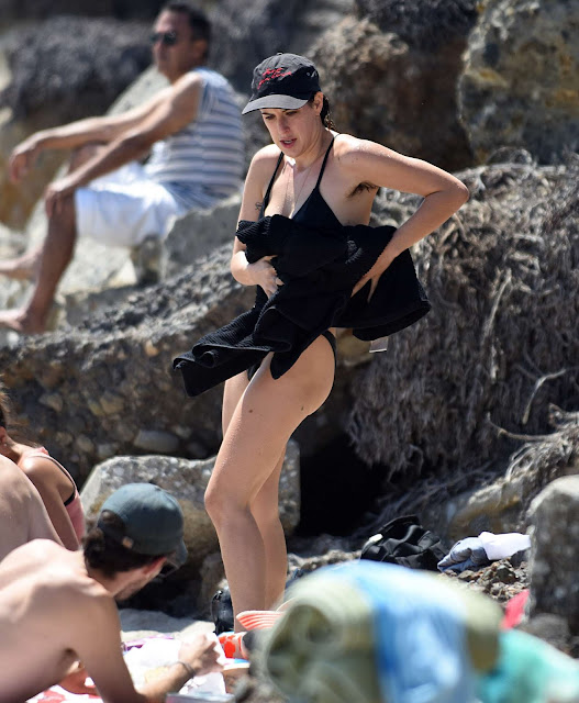 Scout Willis in Black Bikini at the beach in Los Angeles