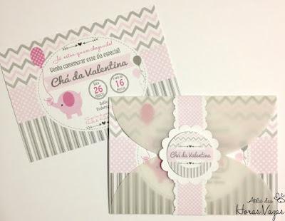 convite artesanal infantil personalizado anviersário 1 aninho chá de bebê fraldas menina elefantinho chevron cinza rosa claro delicado festa personalizada scrap scrapbook scrapfesta menina