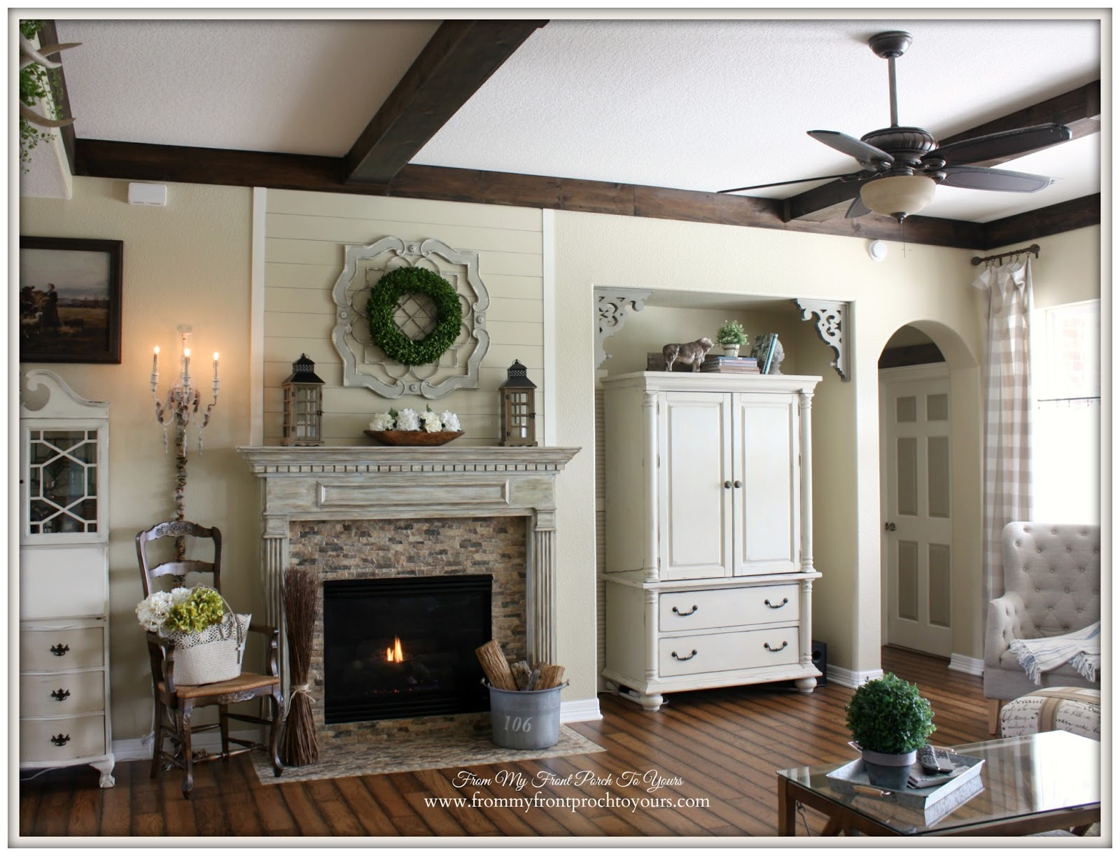 French Country Living Room with wood beams.- From My Front Porch To Yours