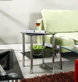 2 Tier Glass Side Coffee Lamp Table Black Clear Shelf Chrome Stylish – Deal £21.99