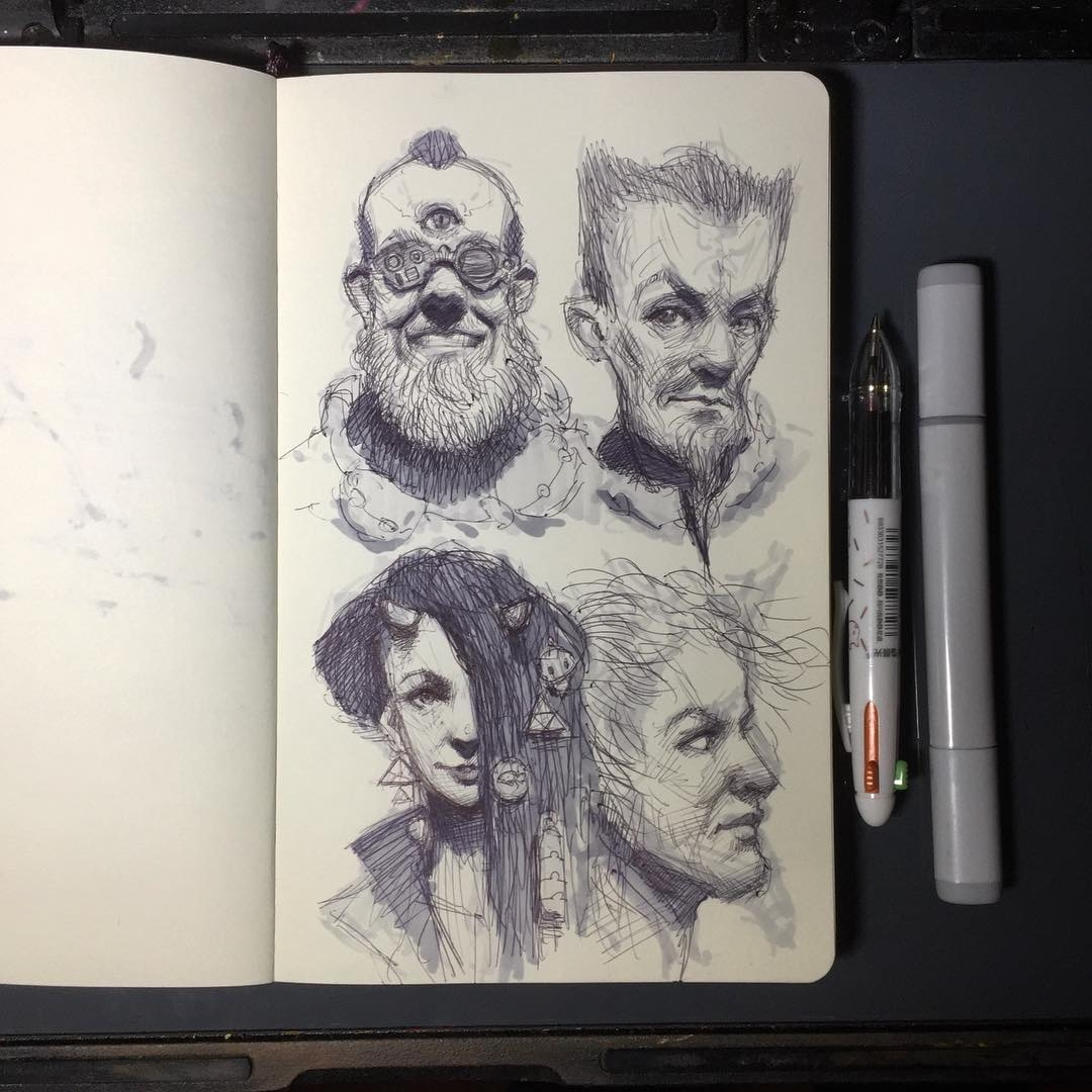 15-Random-heads-doodles-Arthur-Gains-Moleskine-Sketches-of-Celebrities-and-other-Portraits-www-designstack-co