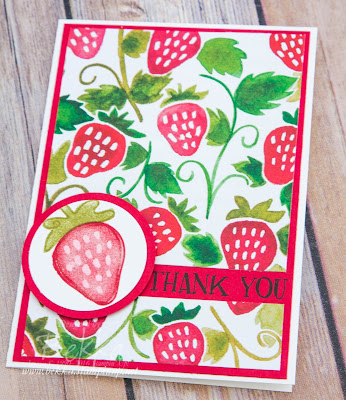 Make in a Moment Card - Strawberry Thank You Card Featuring the Suite of the Week - Fruit Stand from Stampin' Up! UK  Buy here
