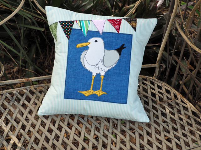 Make an appliquéd seagull cushion. Perfect for a beach house. Threading My Way