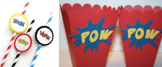 straws and pop corns, superhero wedding