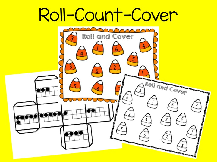 roll count cover,, ten frames, halloween math