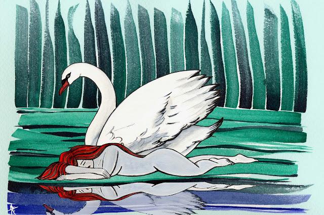 Dibujo: Modernismo, cisne y mujer dormida sobre el agua