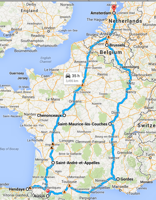 Hendaye France Map.Wanted On Voyage French Road Trip 2014 Week Two