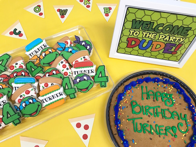 ninja turtle birthday party, ninja turtle cookies, ninja turtle printable, ninja turtle party, boys birthday party, cookie cake, ninja turtle cookies, ninja turtle decorations