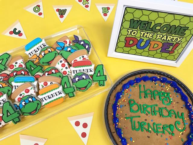 ninja turtle birthday party, ninja turtle cookies, ninja turtle printable, ninja turtle party, boys birthday party, cookie cake, ninja turtle cookies, ninja turtle decorations