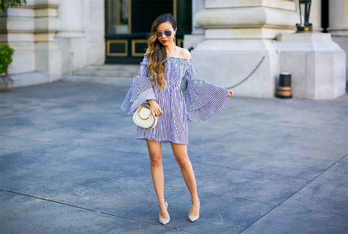 stripe off shoulder dress with tiered ruffle sleeves, stripe off shoulder dress, storets on me, schutz pumps, chloe nile bag, baublebar earrings, le specs sunglasses, san francisco fashion blog, san francisco street style