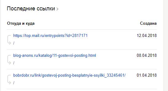 Входящие ссылки в вебмастере