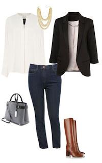 Calças de ganga com blusa branca, blazer preto e botas de cano alto camel