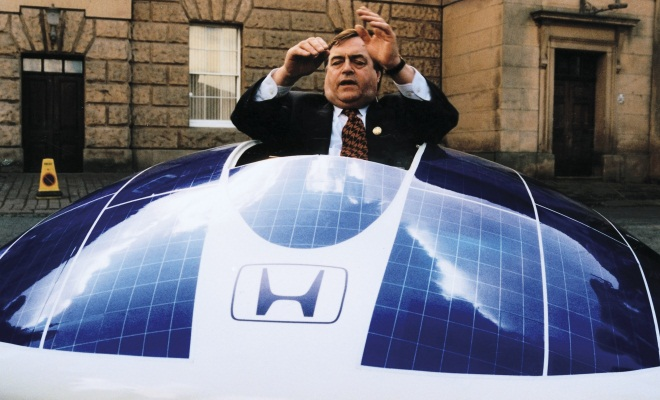 John Prescott tries out a Honda solar car