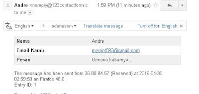 email yang dikirim dari contact form