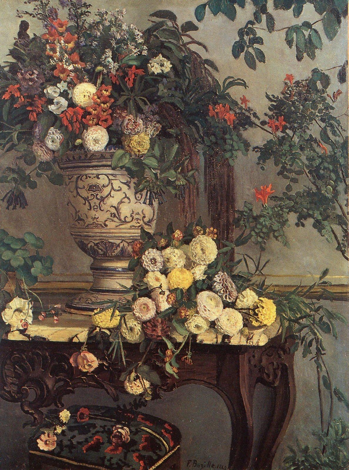 frederic bazille vase de fleurs sur une console 1868. Black Bedroom Furniture Sets. Home Design Ideas