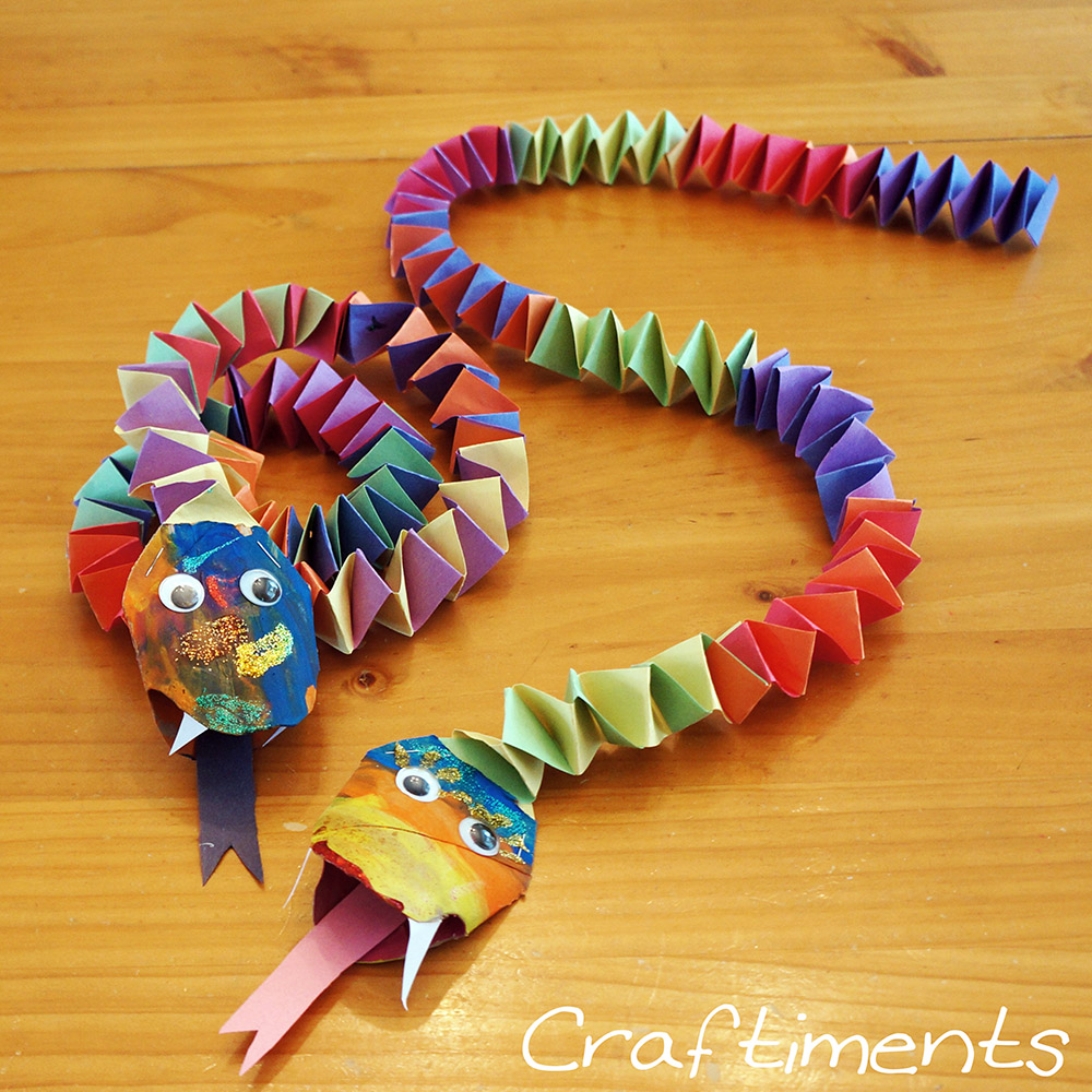 Craftiments chinese new year snake craft for Craft work for class 3