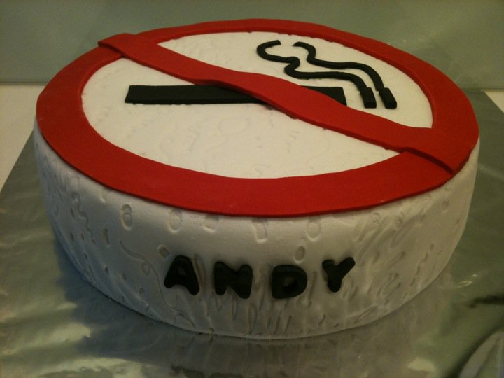 Tummy Full Of Yummy No Smoking Sign Cake