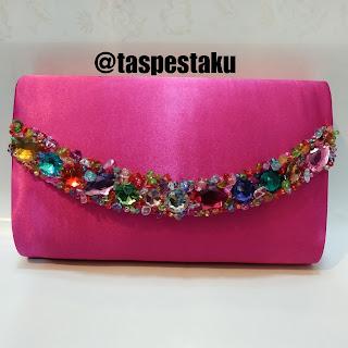 Handmade Tas Pesta Clutch Bag Pink Fanta Cantik