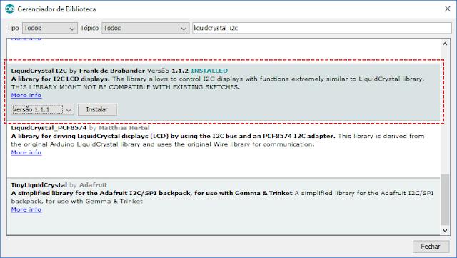 Instalação biblioteca LiquidCrystal I2C IDE Arduino