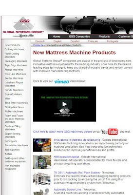 New mattress machinery products web page from Global Systems Group