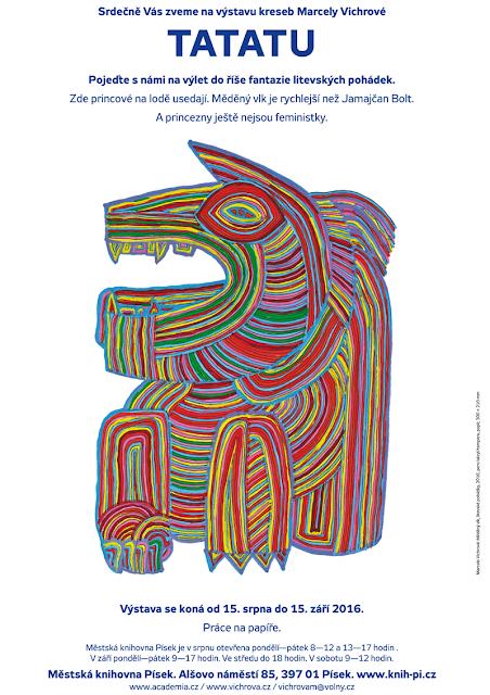 Výstava kreseb Marcely Vichrové TATATU, 15. 8. - 15. 9. 2016, Městská knihovna Písek