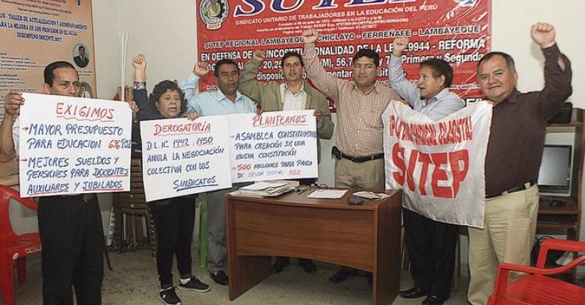 Docentes del SUTEP Chiclayo anuncian paro por aumentos salariales este miércoles 17 octubre