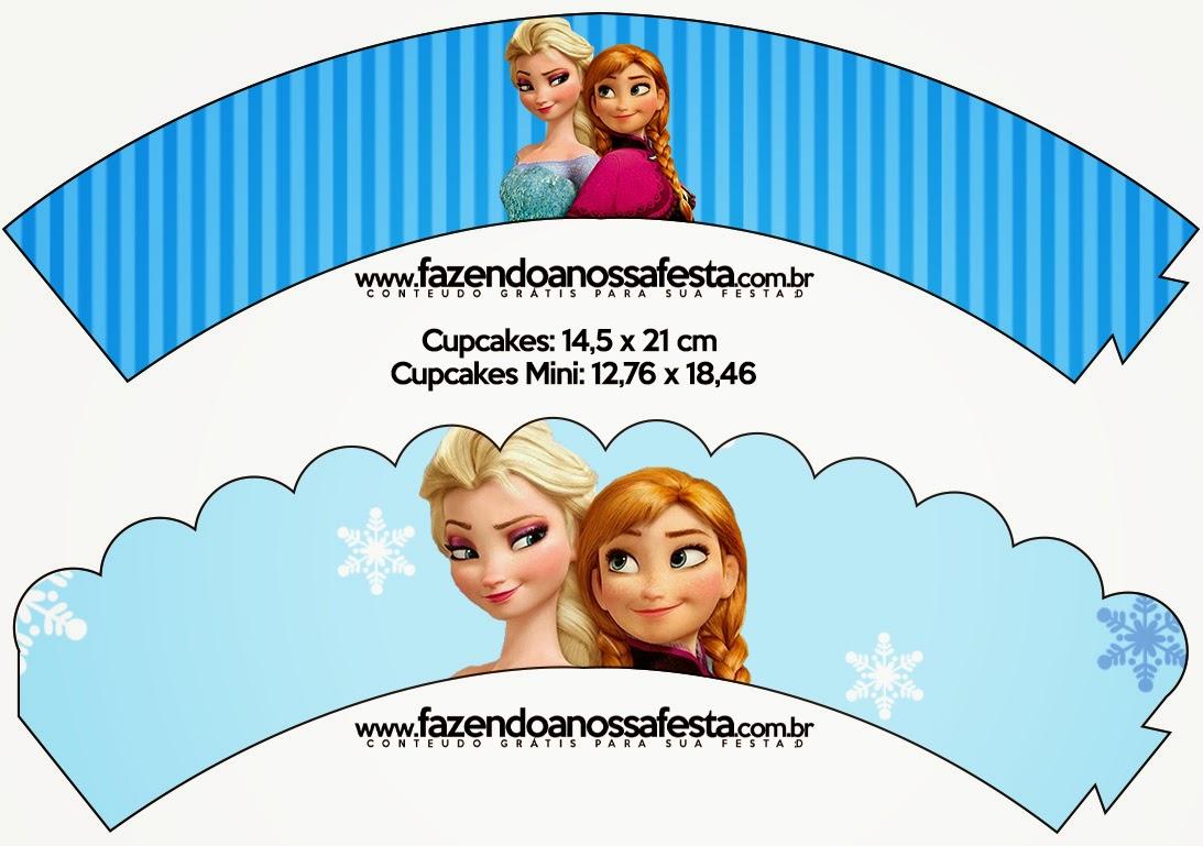 Wrappers para Cupcake de Frozen en Navidad Azul.