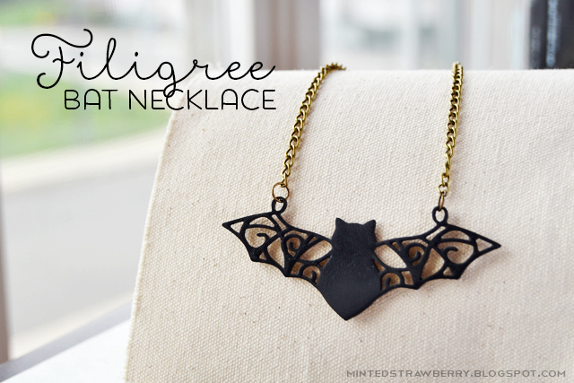 filigree bat necklace