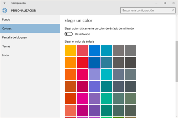 cómo personalizar el color de fondo del menu inicio en windows10