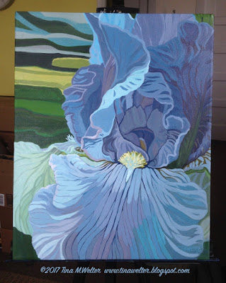 "The Blue Iris painting , 20""x16"" acrylic on canvas ©2017 Tina M. Welter"