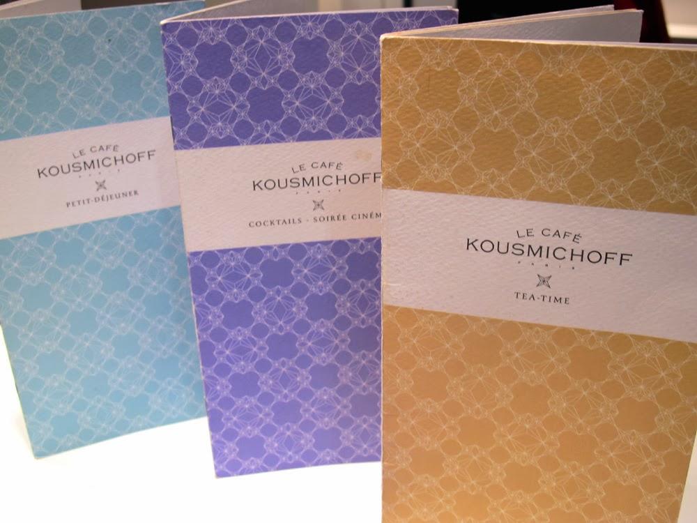 Café Kousmichoff pale pastel menus, Paris
