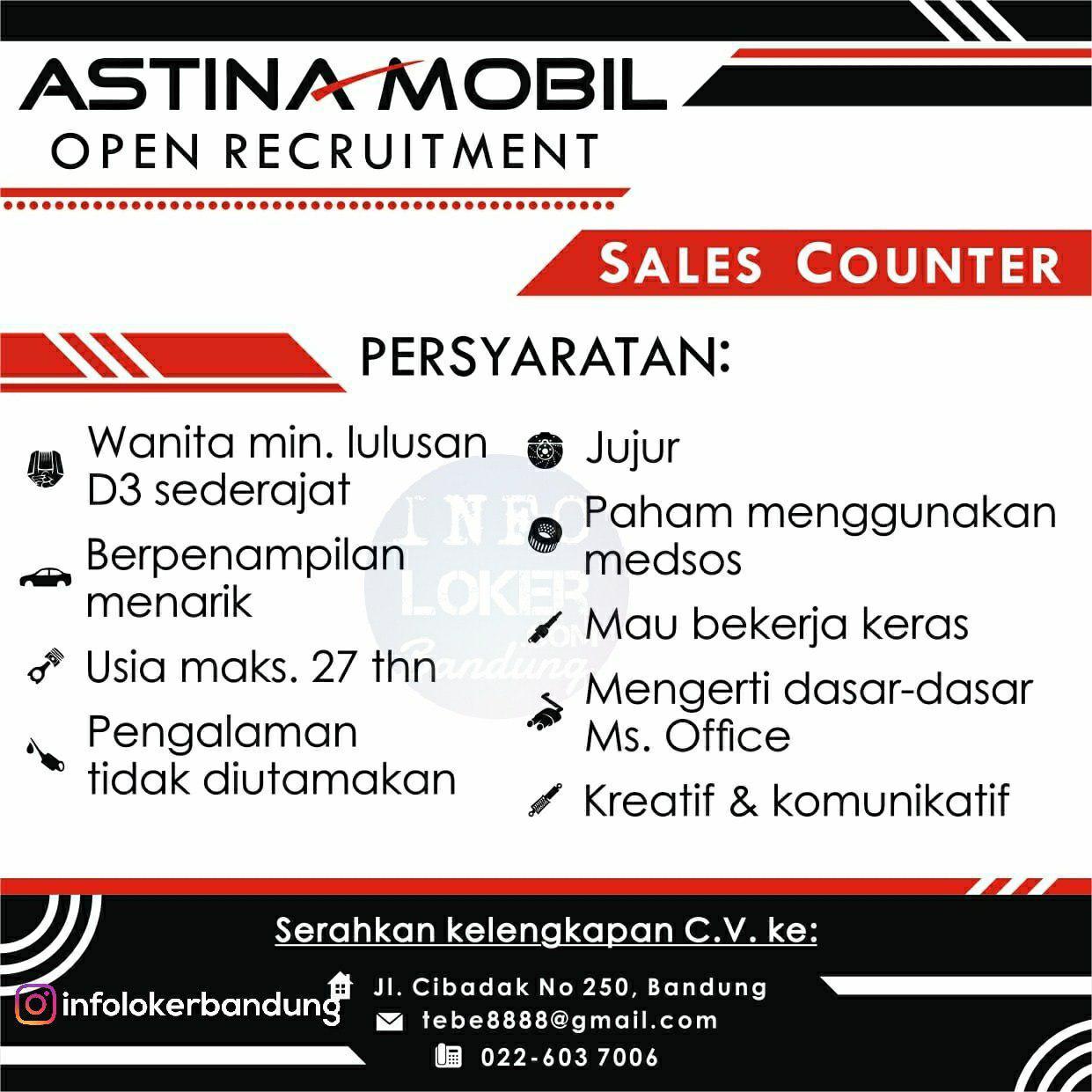 Lowongan Kerja Astina Mobil Bandung Oktober 2018