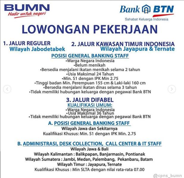 Rekrutmen Bank BTN (Persero) Besar Besaran Via Program Perekrutan Bersama BUMN