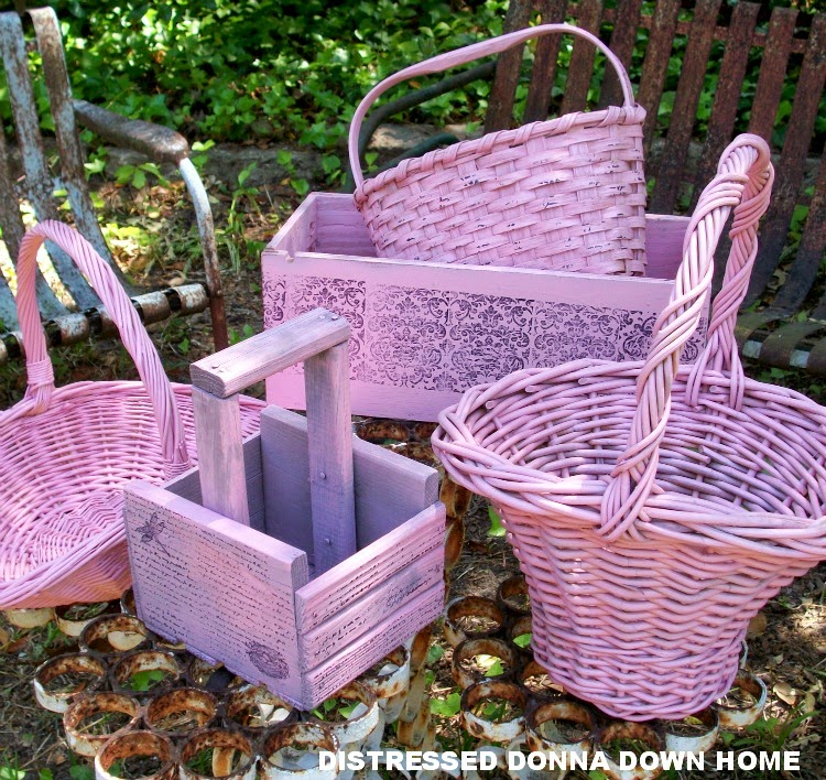 Rust-Oleum spray paint, Sweet Pea Pink, baskets, boxes, tool caddies, distressed painting, makeovers