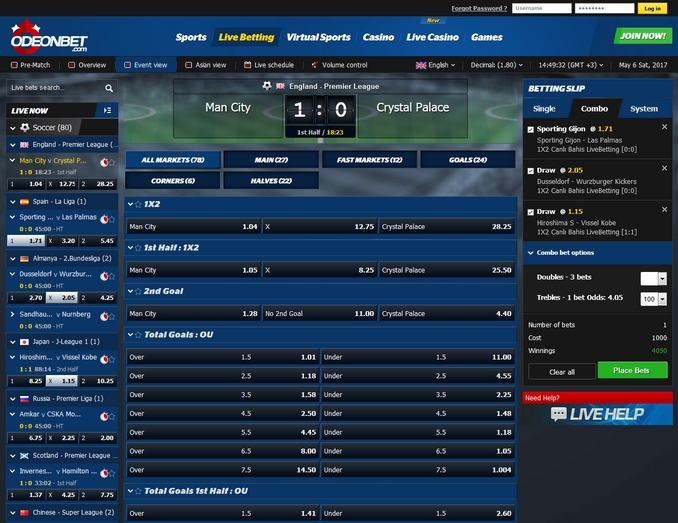 OdeonBet Live Betting Screen