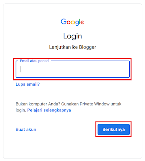Login akun Blogger