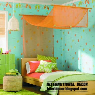 orange canopy bed for girls room, canopy beds