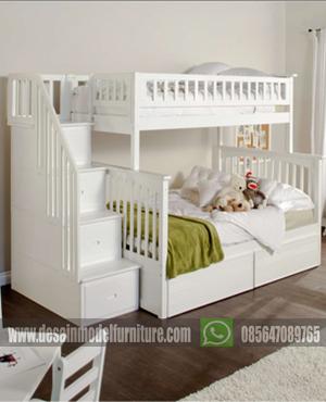 Tempat tidur susun minimalis putih mewah untuk anak