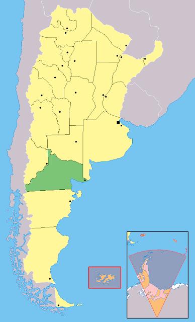 Mapa de localização da província de Río Negro - Argentina