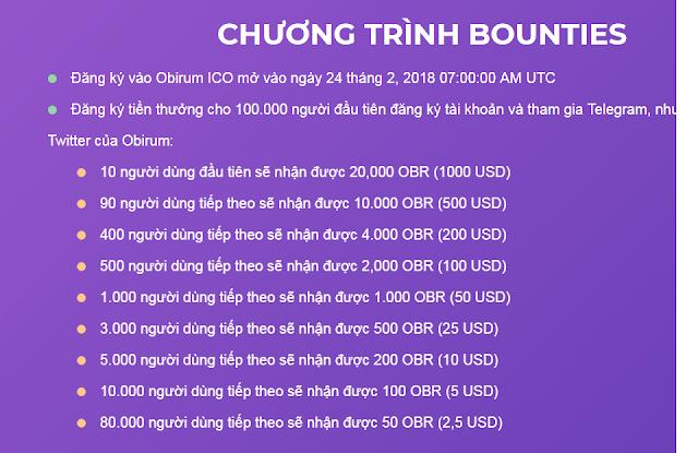 Nhận miễn phí token Obirum