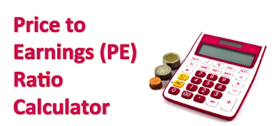 "Picture shows a calculator a few coins and a text box depicting the caption  ""Price to Earnings Ratio calculator"". The picture is in bright crimson red."