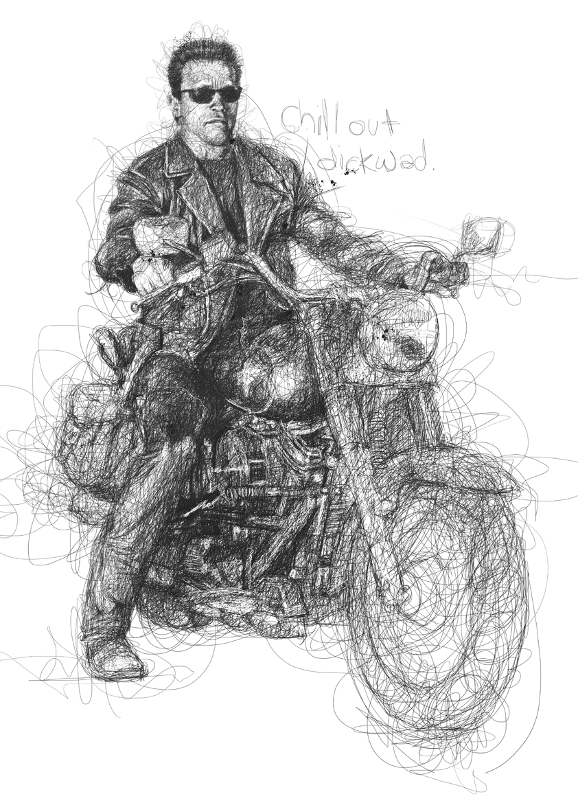 19-Arnold-Schwarzenegger-The-Terminator-Vince-Low-Scribble-Drawing-Portraits-Super-Heroes-and-More-www-designstack-co