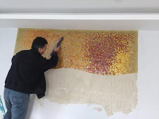 Altın Sarısı Mozaik Duvar Panosu
