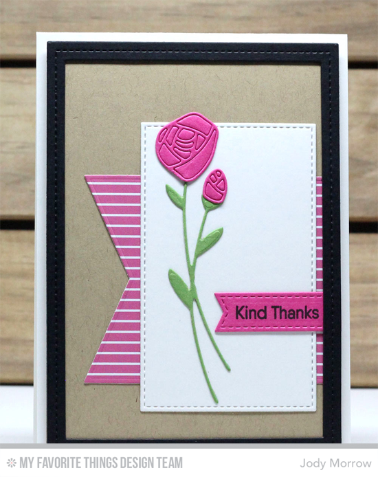 Handmade card from Jody Morrow featuring Kind Words stamp set, Roses in Bloom, Stitched Sentiment Strips, Single Stitch Line Rectangle Frames, Stitched Rectangle STAX, Blueprints 13, and Blueprints 24  #mftstamps