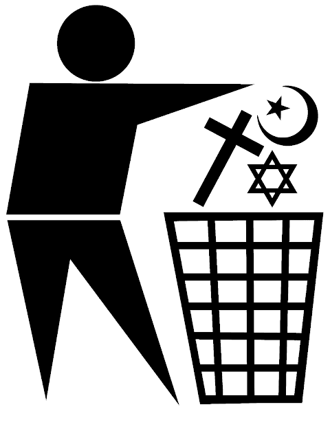 Throwing religious symbols in garbage bin