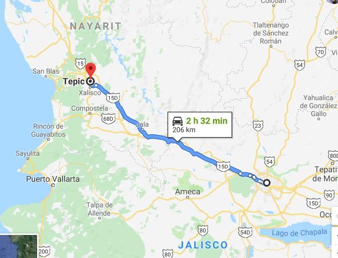 Ruta punto a Punto para viajar por carretera de Guadalajara a Tepic