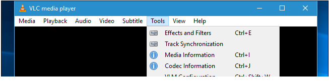 vlc media player tools tab