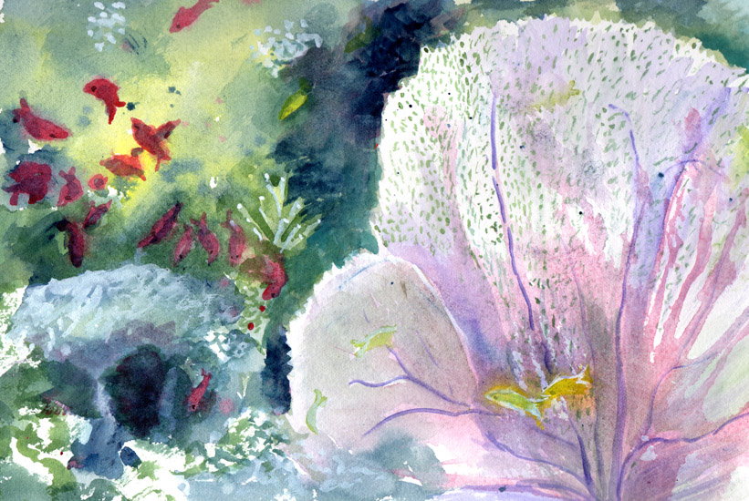 Bunny's Artwork: Underwater Landscape Original Watercolor ...